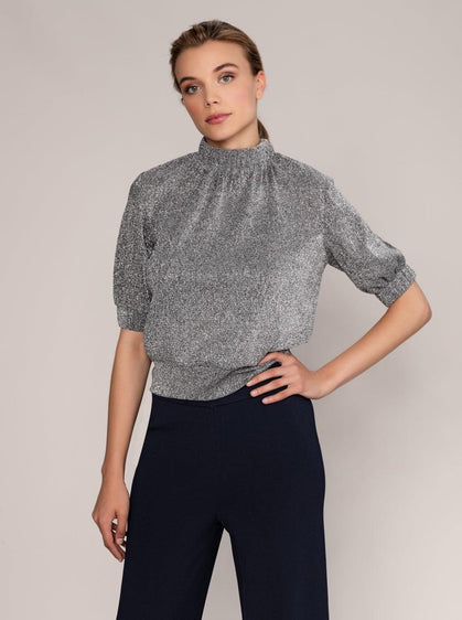 ROMAN USA-Silver Shimmer Puff Top-- [GOLD]