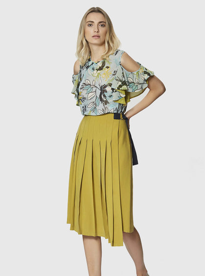 ROMAN USA-Olive Pleated Wrap Skirt-- [OLIVE]