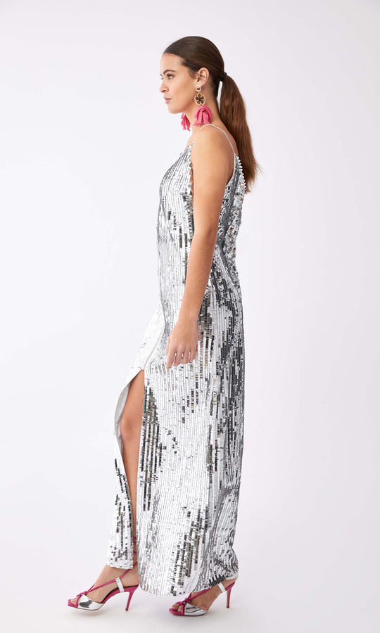 Sultry Silver Sequined Gown