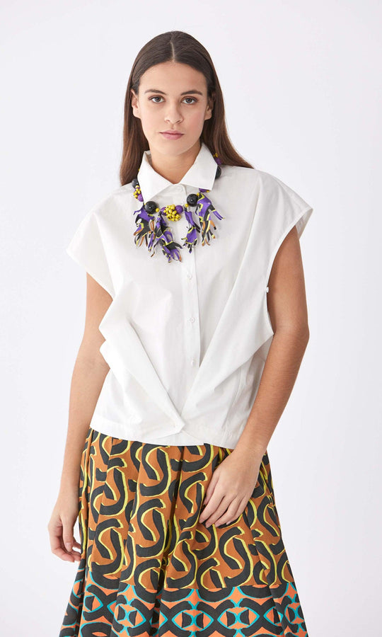 Sleeveless Cotton V-Layer Blouse