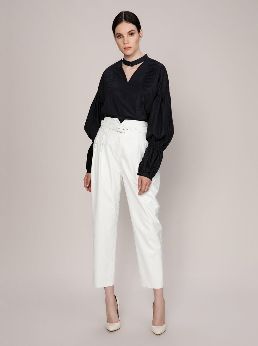 ROMAN USA- WHITE Boxy Tapered Pant-- [WHITE]