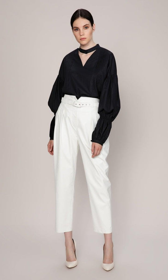 BELT DETAILED WHITE LEATHER PANTS