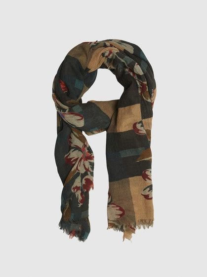 EARTHY FLORAL PRINT SCARF