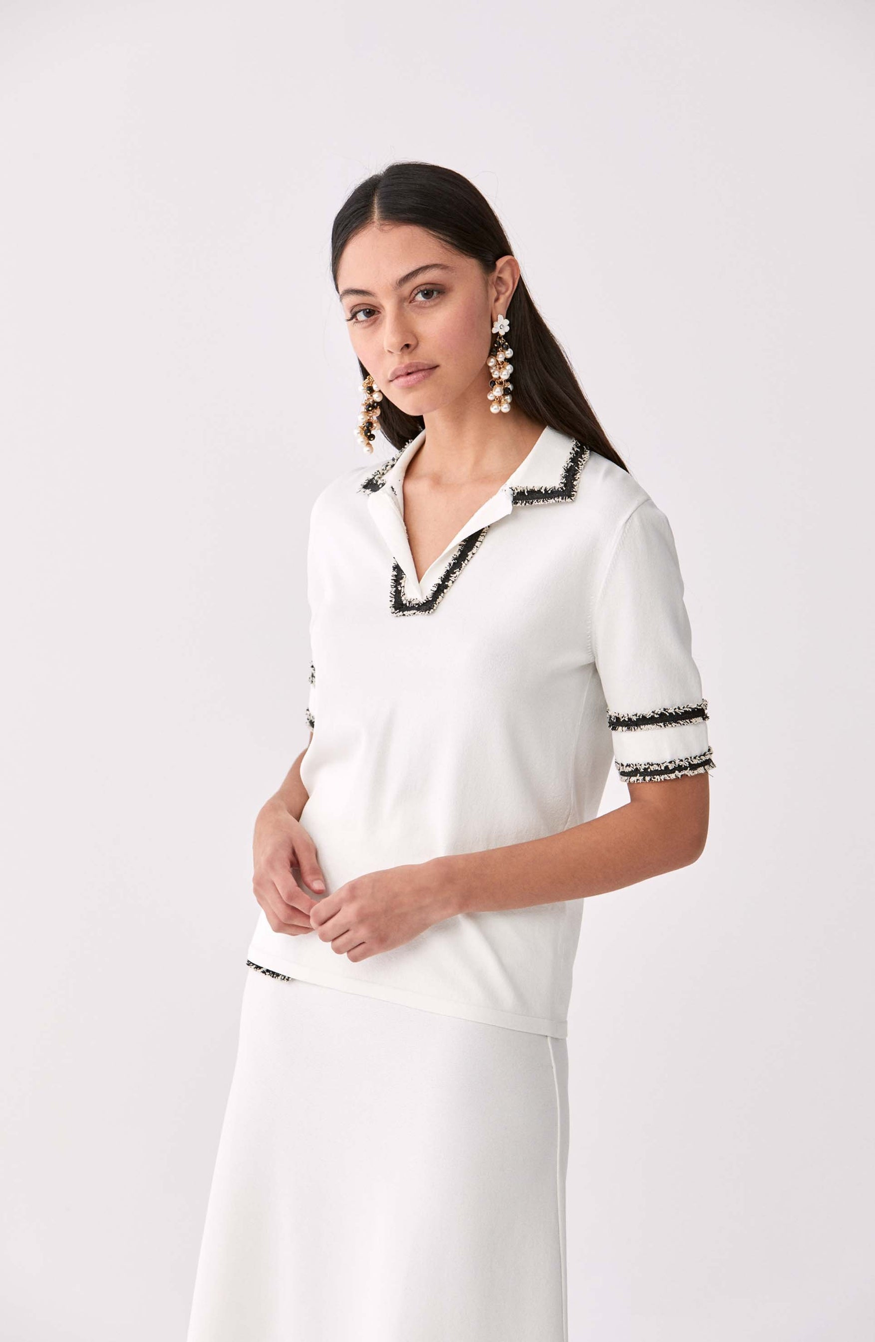 ROMAN USA-Fringe Trim Polo Shirt-- [ORIGINAL]