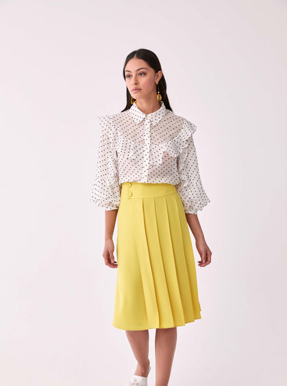 Wide Panel Pleated Tea Skirt