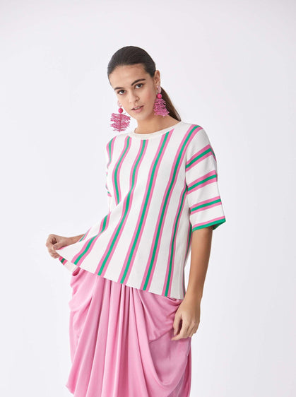 Pink & Green Stripe Tee