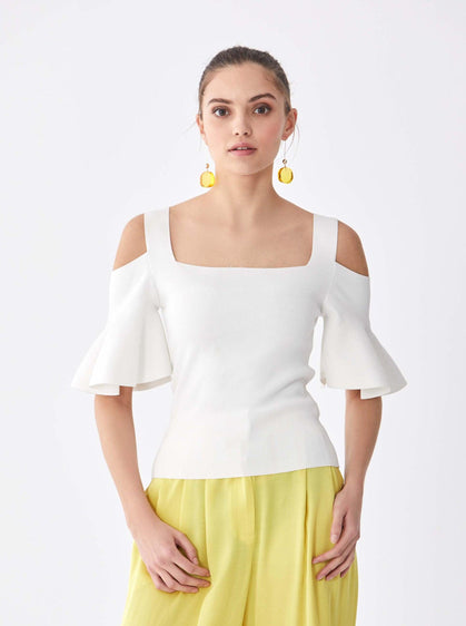 ROMAN USA- [WHITE] Cutout Summer Top-- [ECRU]