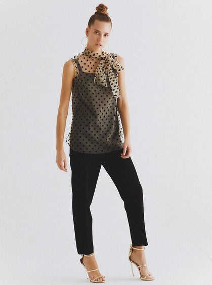 Sleeveless Raised Velvet Polka Dot Blouse