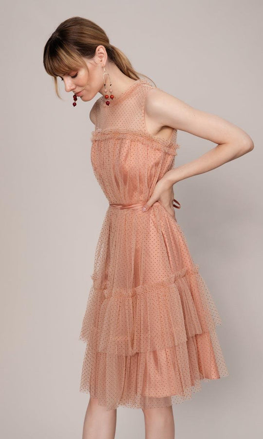 TRANSPARENT SLEEVELESS SALMON DRESS