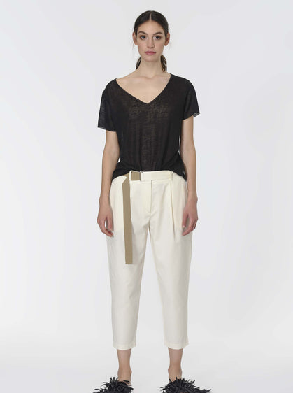ROMAN USA-Belted Off- WHITE Ankle Pant-- [BONE]
