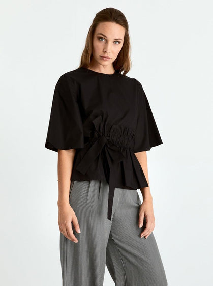 Cotton Semi-Belted Blouse