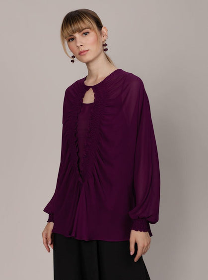 ROMAN USA-Shirred Keyhole Blouse-- [PURPLE]
