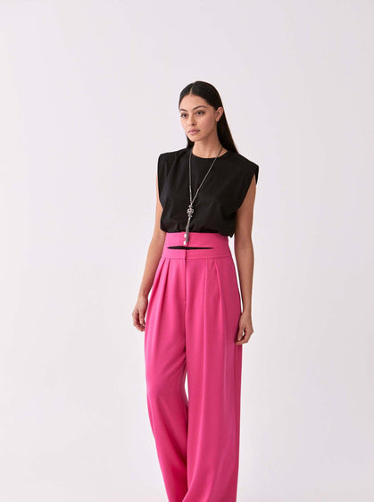 ROMAN USA-Tripple Button Wide Leg Pant-- [FUSCHIA]