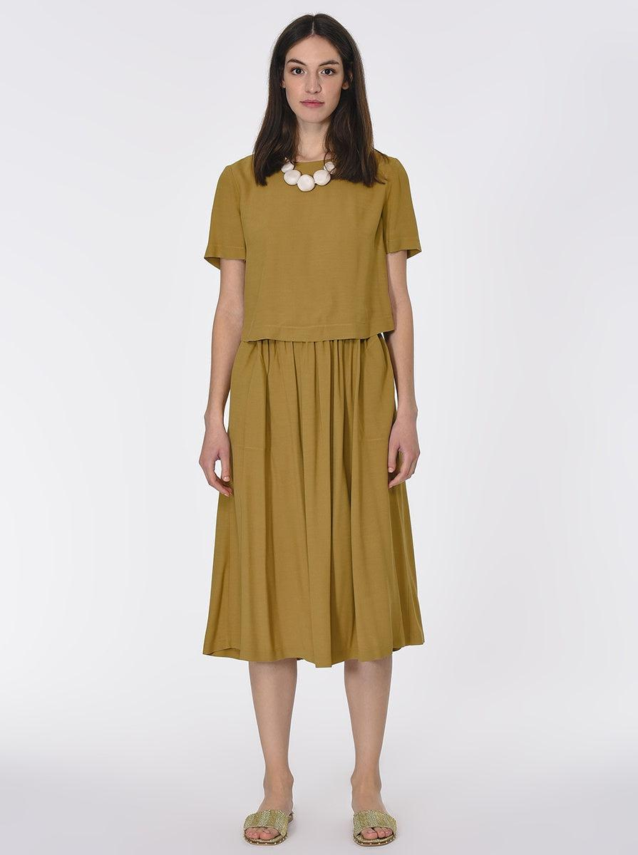 ROMAN USA-Faux-Crop Overlay Dress-- [OLIVE]