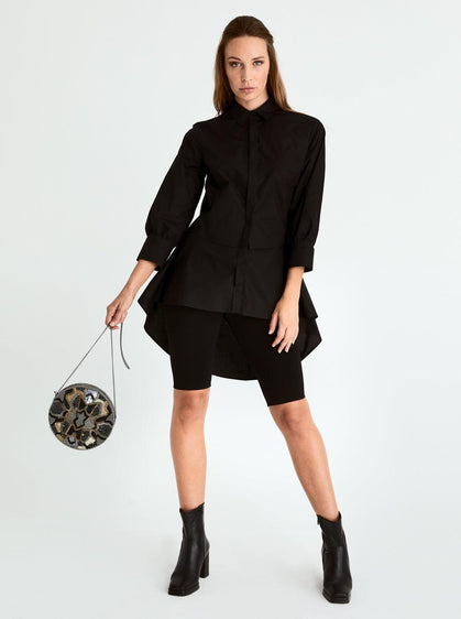 ROMAN USA-Dip Hem Structured Blouse-- [BLACK]
