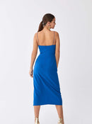 Cobalt Ruche-Wrap Cocktail Dress