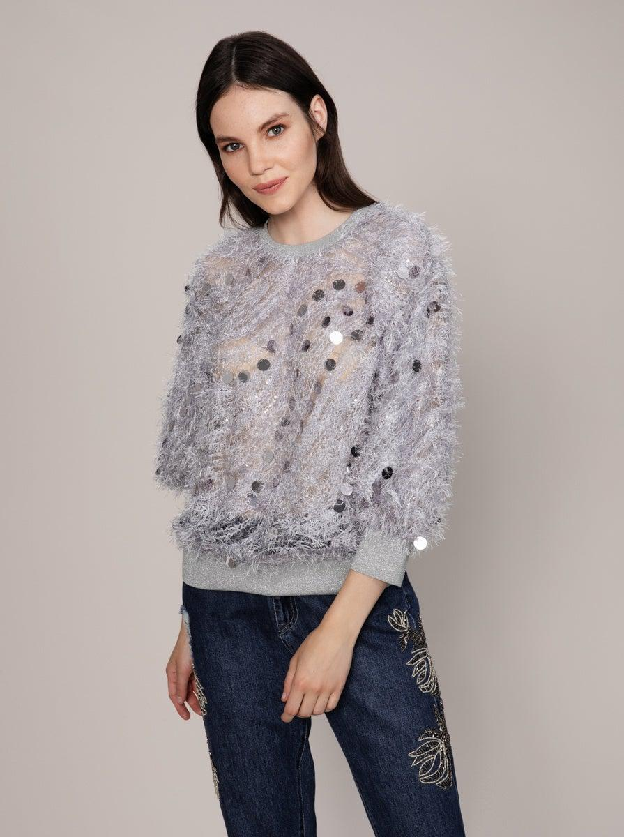 ROMAN USA-Lavender Retro Fuzzy Sweater-- [ORIGINAL]