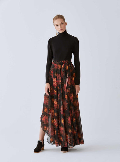 Sheer Bloom Print Maxi