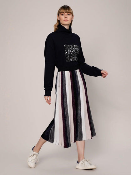 ROMAN USA-Knit Shimmer Midi Skirt-- [ORIGINAL]