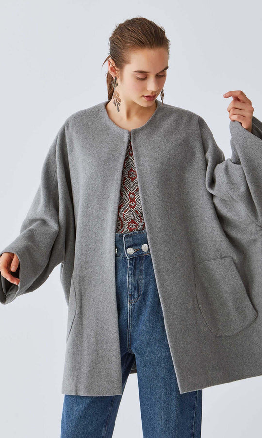 Heather Dolman Wool Coat