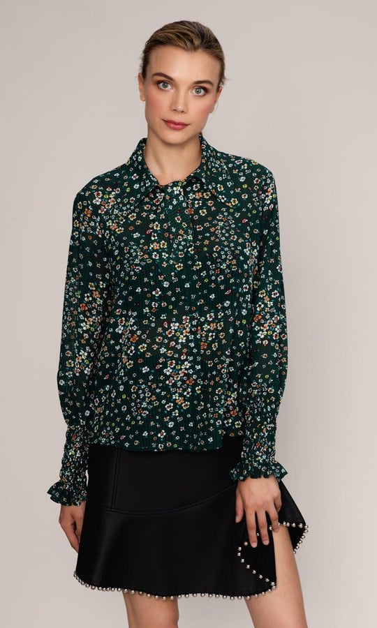 FLORAL GREEN BLOUSE