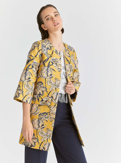 ROMAN USA-Yellow Floral Overcoat-- [ORIGINAL]