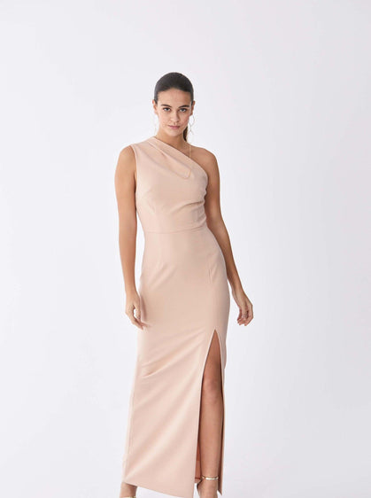 ROMAN USA-Asymmetric Sheath Pastel Gown-- [CYAN]