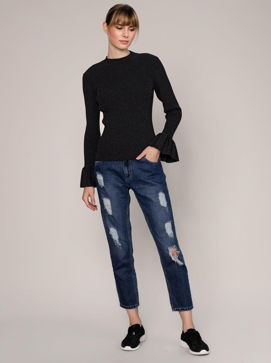 ROMAN USA-Ribbed Flounce Cuff Sweater-- [BLACK]