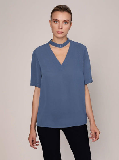 ROMAN USA-Essential Keyhole Blouse-- [OFF - WHITE]