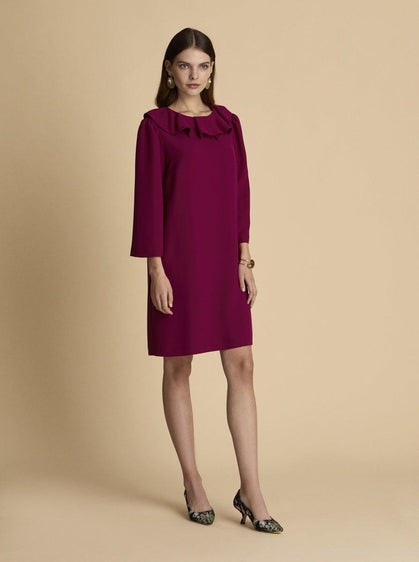 ROMAN USA-Long Sleeve Shift Dress-- [LILAC]