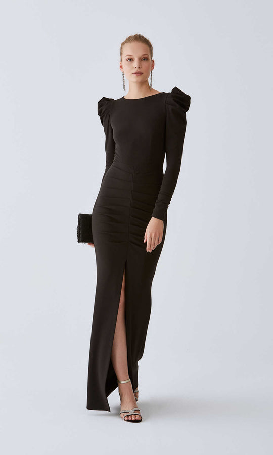 Ruched Sleeve Mid-Slit Evening Gown