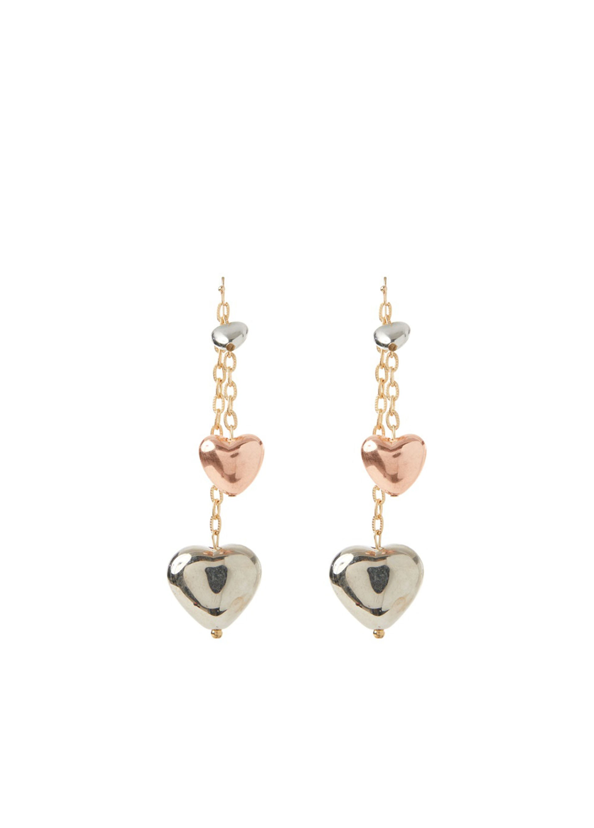 ROMAN USA-Metallic Heart Drop Earring-- [ORIGINAL]