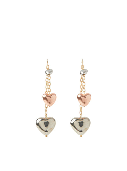 Metallic Heart Drop Earring