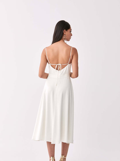 Sleeveless White Cocktail Dress