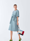 ROMAN USA-Structured Cotton Sundress-- [GREY]-- [BLUE]