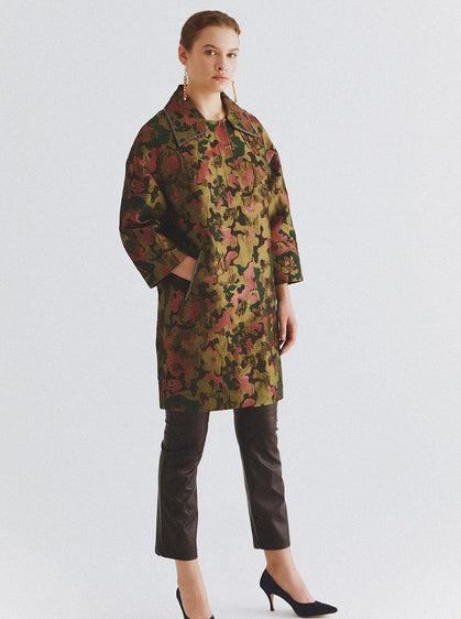 ROMAN USA-Olive Printed Spread Collar Coat-- [ORIGINAL]