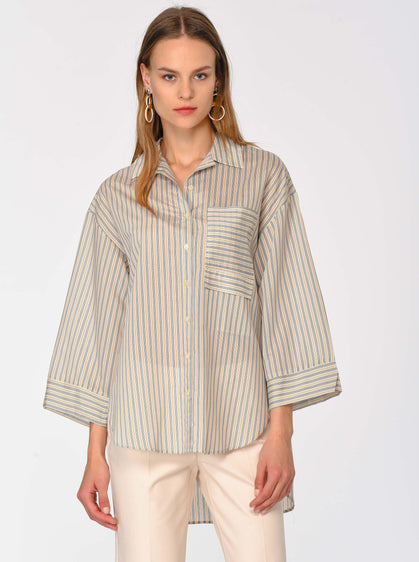 Hi-Low Pinstripe Shirt