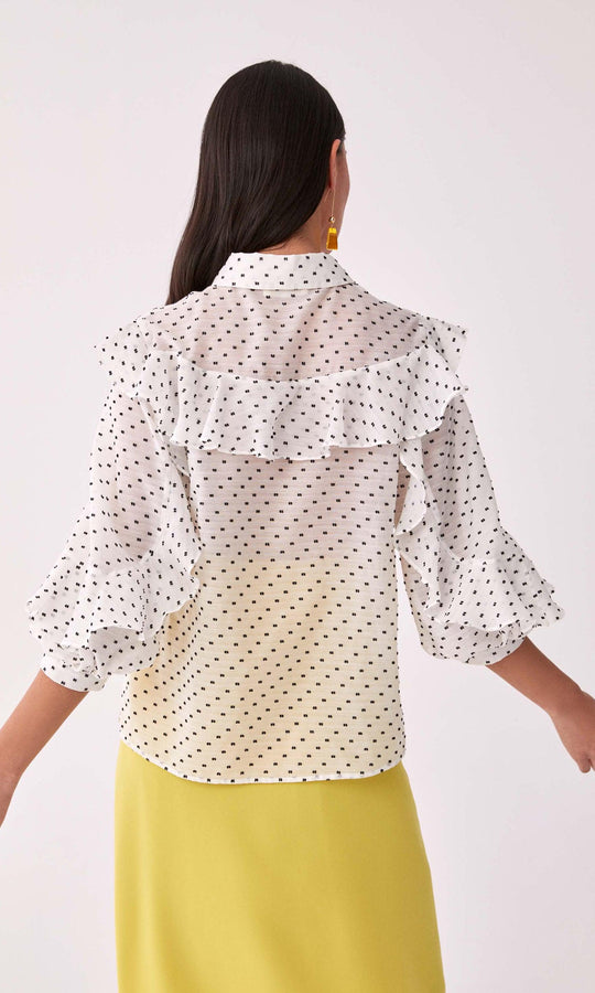 Ruffle Trim Polka Dot Blouse