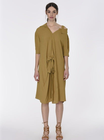 ROMAN USA-Cold-Shoulder Smock Dress-- [KHAKI]