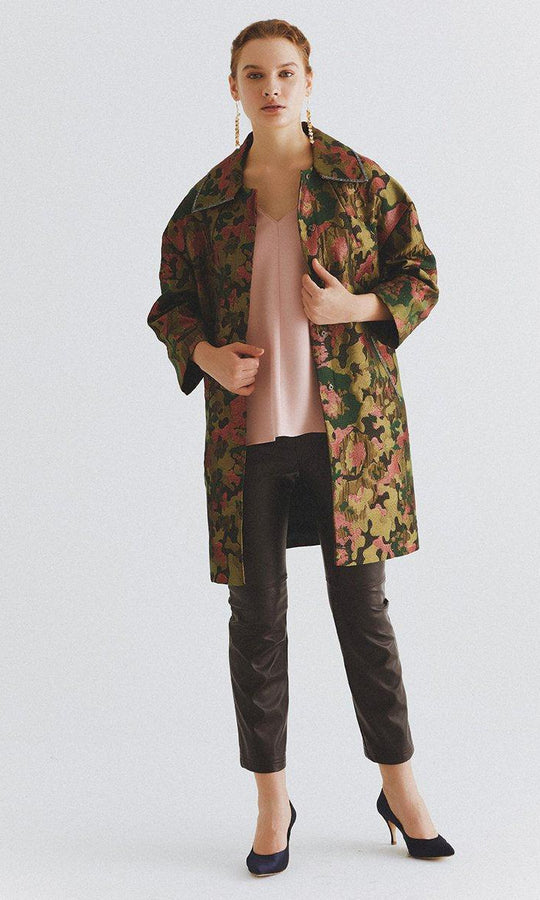 Olive Printed Spread Collar Coat