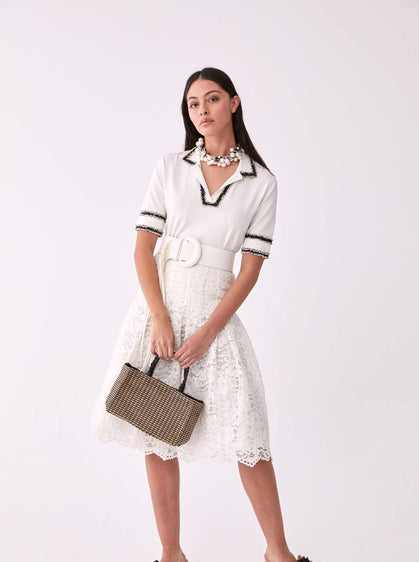 Full Lace Pleated Tea Skirt