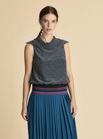 ROMAN USA-Shimmer Cowl Top-- [BLUE]