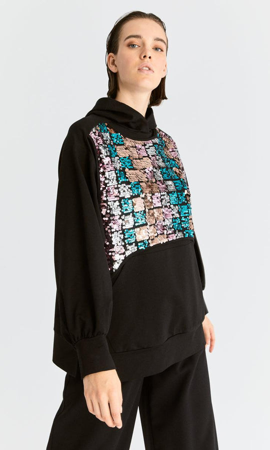 Strobe Sequin Detailed Hoodie