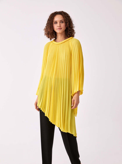 ROMAN USA-Accordion Pleated Greco Blouse-- [YELLOW]
