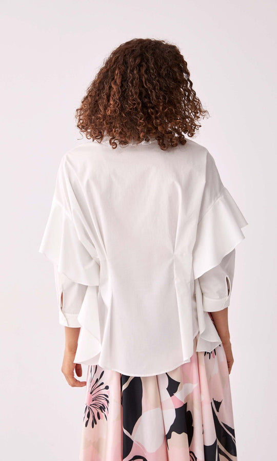 Layered Sleeve Waist-Structured Blouse