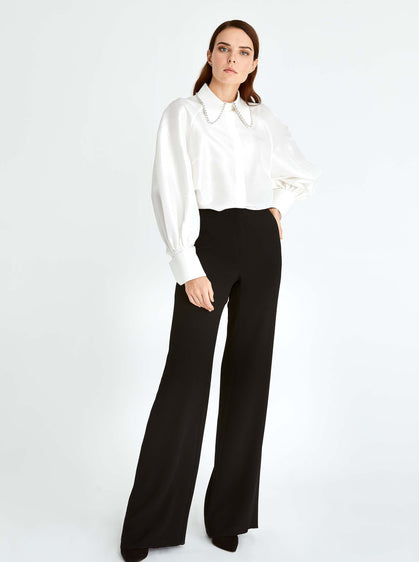 ROMAN USA-Classic Wide Leg Dress Pant-- [BLACK]