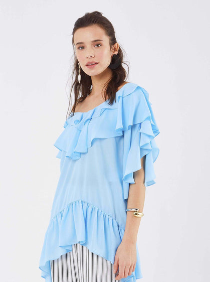 ROMAN USA-Airy Summer Flounce Top--- [LIGHT-BLUE]