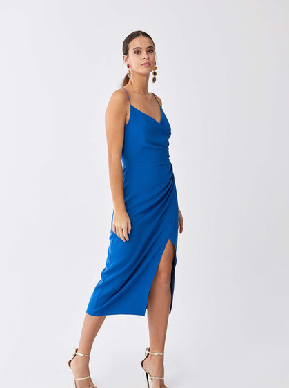 ROMAN USA-Cobalt Ruche-Wrap Cocktail Dress-- [BLUE]