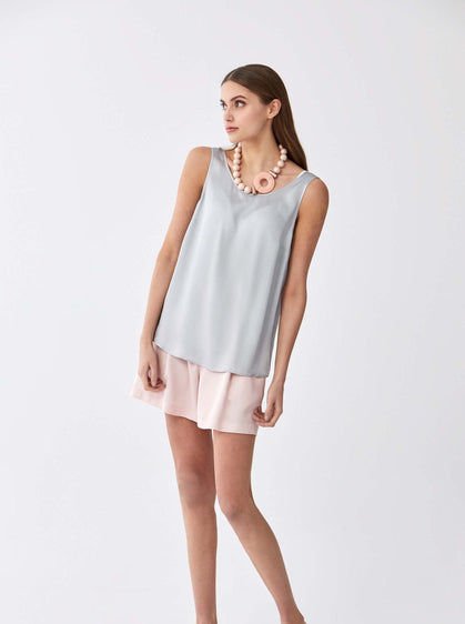 ROMAN USA-Essential Scoop Neck Longline Top-- [ICE - BLUE]