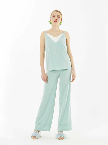 Mint Cuffed Wide Leg Pant
